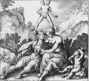 Ermete ed Afrodite, da M. Mayer,Atalanta fugiens - Francoforte, 1617