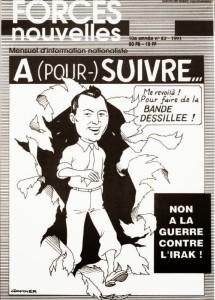Una caricatura di Degrellenel le vesti di Tintin apparsa nel 1991 sulla rivista nazionalista francese Forces Nouvelles