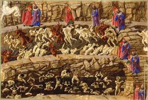 """Dante e Virgilio, nell'Inferno secondo Botticelli, si """"spostano"""" su un sfondo fisso (Malebolge)"""