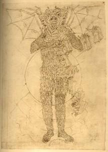 """Dante e Virgilio si arrampicano su Lucifero (che funge da """"sfondo fisso""""), inquadrati in diversi momenti cronologicamente e spazialmente separati"""
