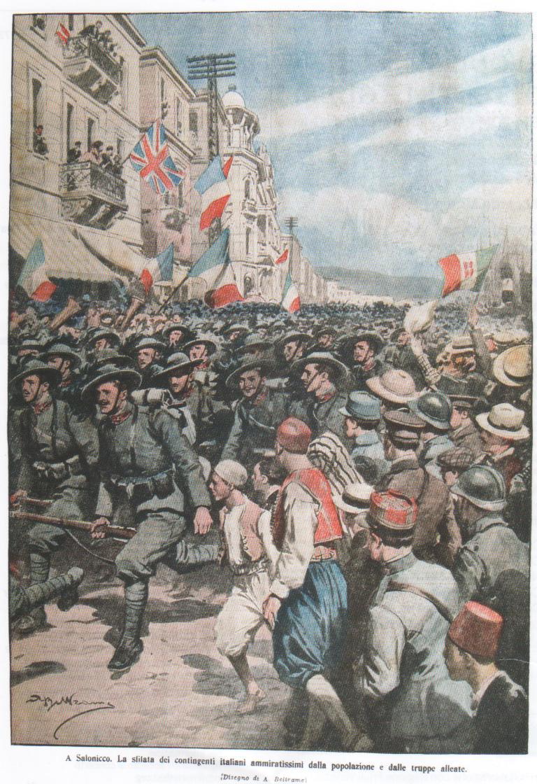 A Salonicco. La sfilata dei contingenti italiani ammiratissimi dalla popolazione e dalle truppe alleate.