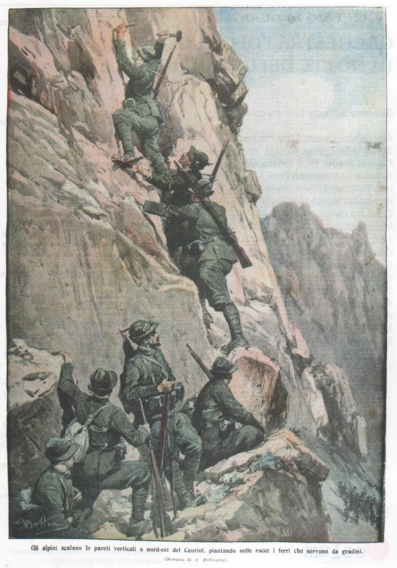 Gli Alpini scalano le pareti verticali a nord-est del Cauriol, piantando nelle rocce i ferri che servono da gradini