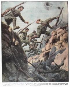 La conquista dell'Ortigara L'attacco che dalla quota 2101 si gettava sulla quota 2105, correva in quel momento sulla cresta, nell'insellatura, da destra a s