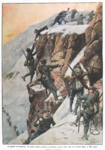 La guerra sui ghiacciai un nostro reparto assale un drappello nemico sulla cima del Tuckett Spitz, a 3469 metri