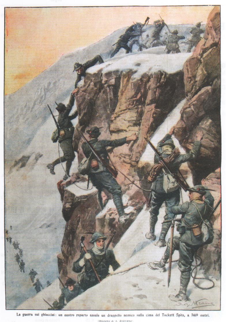 La guerra sui ghiacciai: un nostro reparto assale un drappello nemico sulla cima del Tuckett Spitz, a 3469 metri