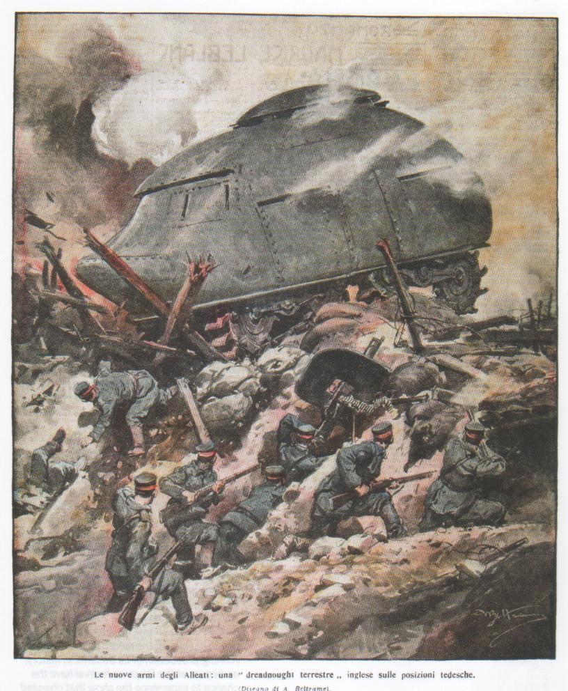 """Le nuove armi degli alleati: una """"dreadnought terrestre"""" inglese sulle posizioni tedesche"""