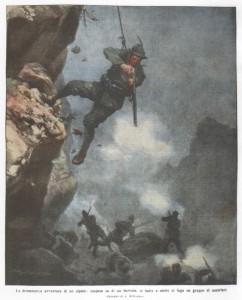 La drammatica avventura di un alpino sospeso su di un burrone, si batte e mette in fuga un grupp di austriaci
