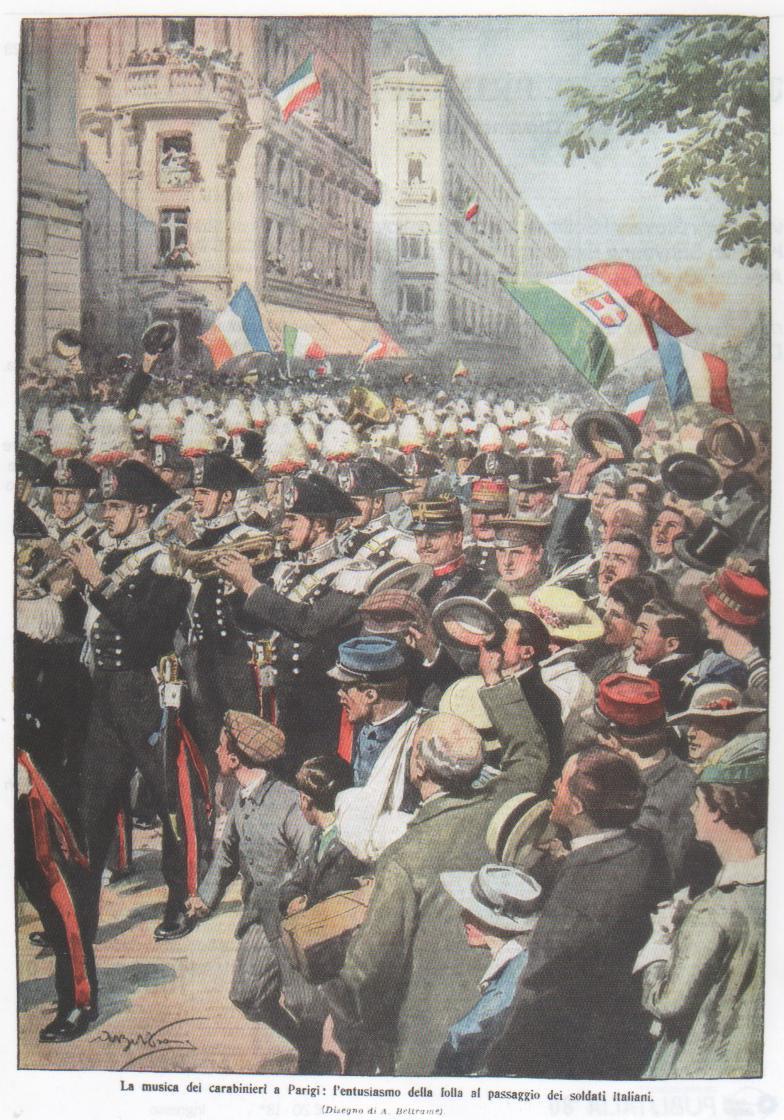 La musica dei Carabinieri a Parigi: l'entusiasmo della folla al passaggio dei soldati italiani