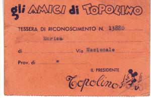 """Un tessera degli """"Amici di Topolino"""" del 1935, del tutto simile a quella che ricevette Romano Mussolini. la foto è tratta dal blog Anni Trenta."""