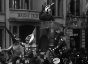 Topolino in Italia: un carro allegorico con i personaggi disneyani sfila al Carnevale di Viareggio nel 1937. Archivio Storico LUCE