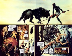 Il giovane Leonida con il lupo.