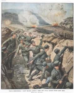 Guerra modernissima i nostri lanciano granate a mano nelle trincee nemiche distanti pochi metri