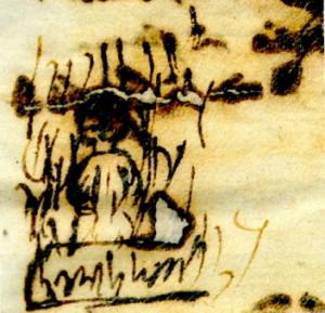 Questa immagine di Bruno al rogo è stata realizzata da uno dei prelati testimoni oculari del rogo, da poco ritrovata in un documento dell'Archivio di Stato di Roma
