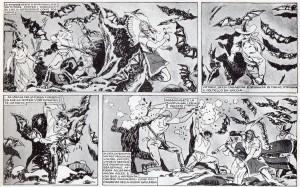 Il lato horror e macabro del wester fumettistico all'italiana: la lotta contro i pipistrelli-vampiro nel budello di rocce sotterranee (tav. XIX)