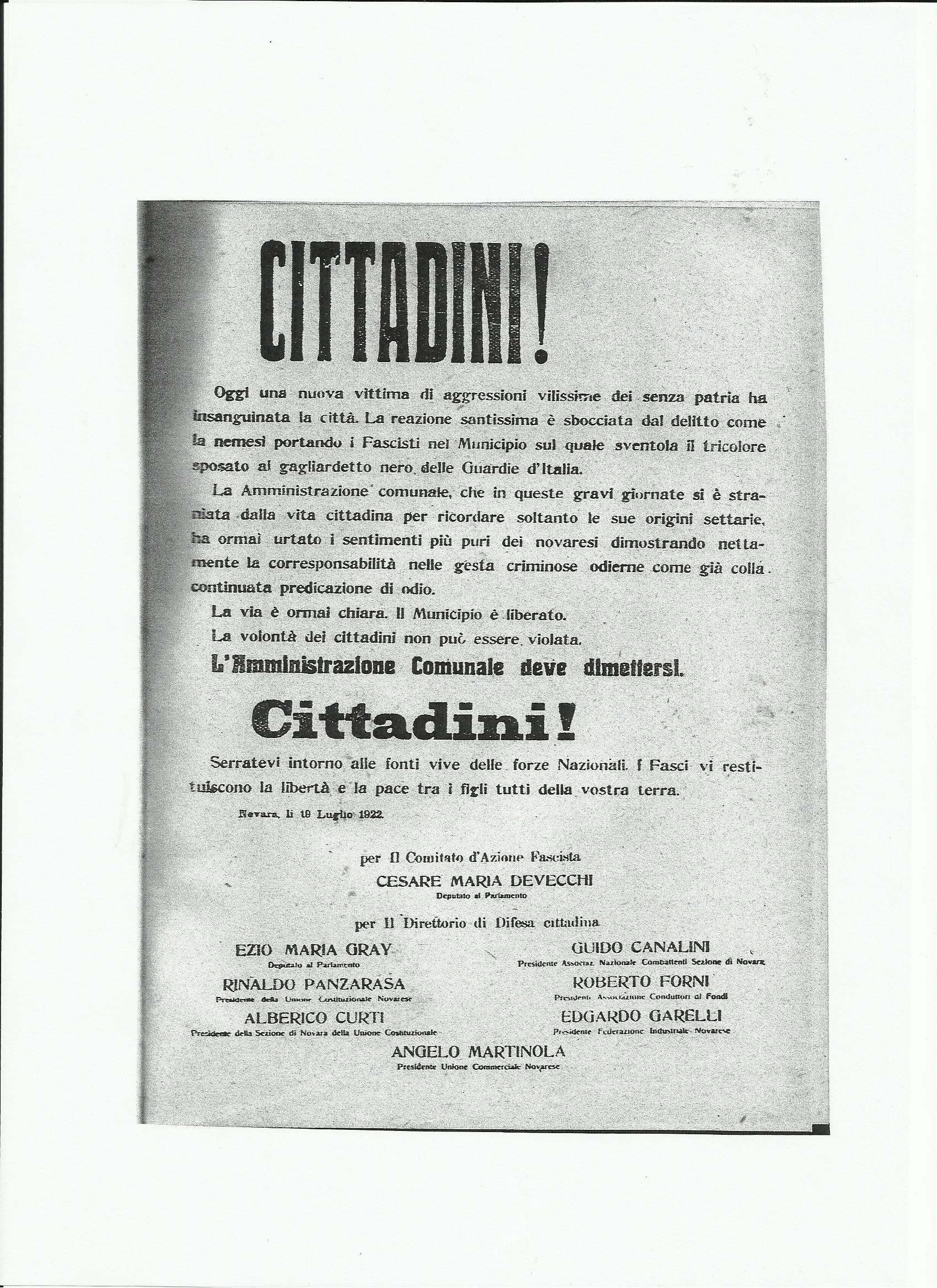 1922: l'anno primo dell'Era Fascista (quinto capitolo)