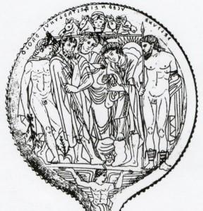 """Lo """"specchio di Tarchies"""" proveniente da Tarquinia: la figura di destra è Voltumna (Veltune) raffigurato come un Dio giovane armato con lancia"""