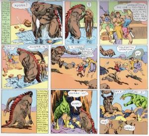 """Il buffo Mostro delle Antiche Caverne (e il Sacro Polipo, trattato come uno straccio!) si scontra con un dinosauro come nel film """"King Kong"""" del 1933"""