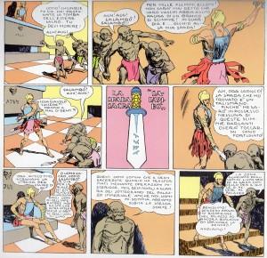 La spada Salambò, custodita, venerata e temuta dagli ibridi uomini-scimmia. Notare l'iscrizione simil-runica