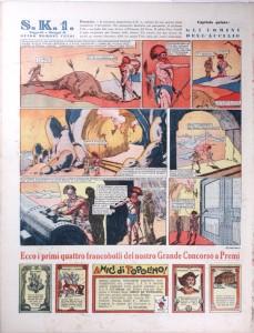 La V puntata, con il trasferimento in ultima pagina, su Topolino n. 155: l'arma fantascientifica che spara metallo fuso dell'Impero del Ferro