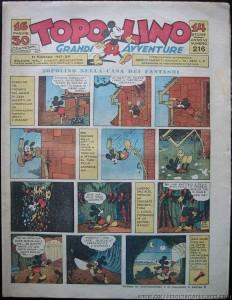 """""""Topolino"""" n. 216: il settimanale si fonde con """"I Tre Porcellini"""", appena chiuso, puntando ancor più sull'avventura realistica"""
