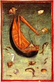 Il naufragio della nave di Ulisse, da un codice miniato medieva-le Roma, Biblioteca Apostolica Vaticana
