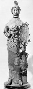 Minerva Tritonia di Lavinium, statua in terracotta del V sec. a.C. ora esposta al Museo di Pratica di Mare.
