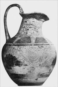 L'oinochoe di Tragliatella (Caere 620 a.C. circa): i disegni sono interpretati come scene dell'iniziazione dei giovani nel corso del Ludus Troiae.