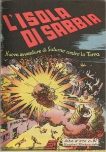 """la copertina dell' """"Albo d'Oro"""" n. 51 del 3 maggio 1947, con la prima ristampa di """"Rebo ritorna"""", stavolta intitolata """"L'isola di sabbi""""."""