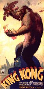 """Poster originale del film """"King Kong"""" del 1933: la ragazza bionda che stringe nel pugno è un esempio moderno di """"damigella in pericolo"""""""