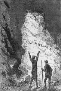 """Un'illustrazione del 1864 (Edgar Riou) per """"Viaggio al centro della Terra"""" di Verne"""