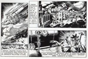 Il titanico razzo dei Saturniani entra nell'atmosfera provocando sfaceli e atterra nelle regioni artiche