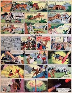 """La prima tavola domenicale di Flash Gordon (14 ottobre 1934): le analogie con """"Saturno"""" sono evidenti."""