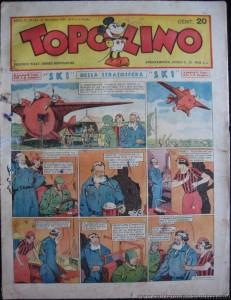 """La prima pagina di """"S.K.1"""" su """"Topolino"""" n. 151 del 17 novembre 1935. Altre analogie con Flash Gordon."""