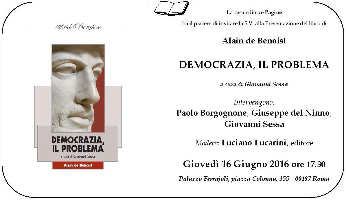 Democrazia il problema a cura di Giovanni Sessa
