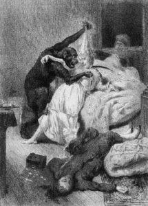 """L'orribile orango responsabile dei """"Delitti della Rue Morgue"""" di E. A. Poe, in un'illustrazione del 1870"""