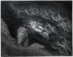 """La spirale creata dalle anime dei lussuriosi nella """"Divina Commedia"""" di Dorè ricorda la formazione degli spiriti lunari diretti verso la Terra"""