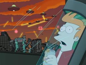 """Il risveglio di Fry all'alba del 3000 (""""Futurama"""", primo episodio, 1999)"""