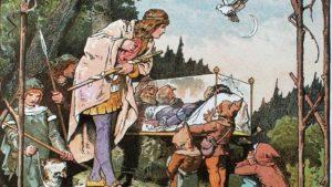 Biancaneve nella bara di cristallo, in un'illustrazione d'poca: fiaba senza tempo dei Fratelli Grimm