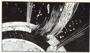 Il raggio disintegratore di Marcus spacca la sfera di roccia che racchiudeva la Terra!