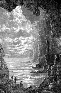 """Illustrazione d'epoca per """"Viaggio al centro della Terra"""" di G. Verne"""