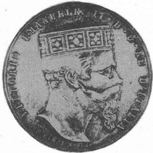 Il grande Re ghibellino Vittorio Emanuele II di Savoia, effigiato con in capo la Corona di Ferro, emblema del Regnum Italicum.