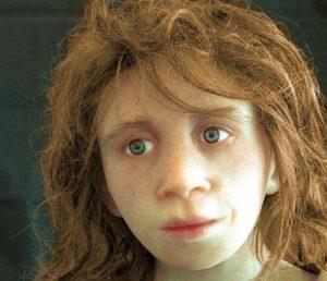 ricostruzione del volto di un bambino di neanderthal