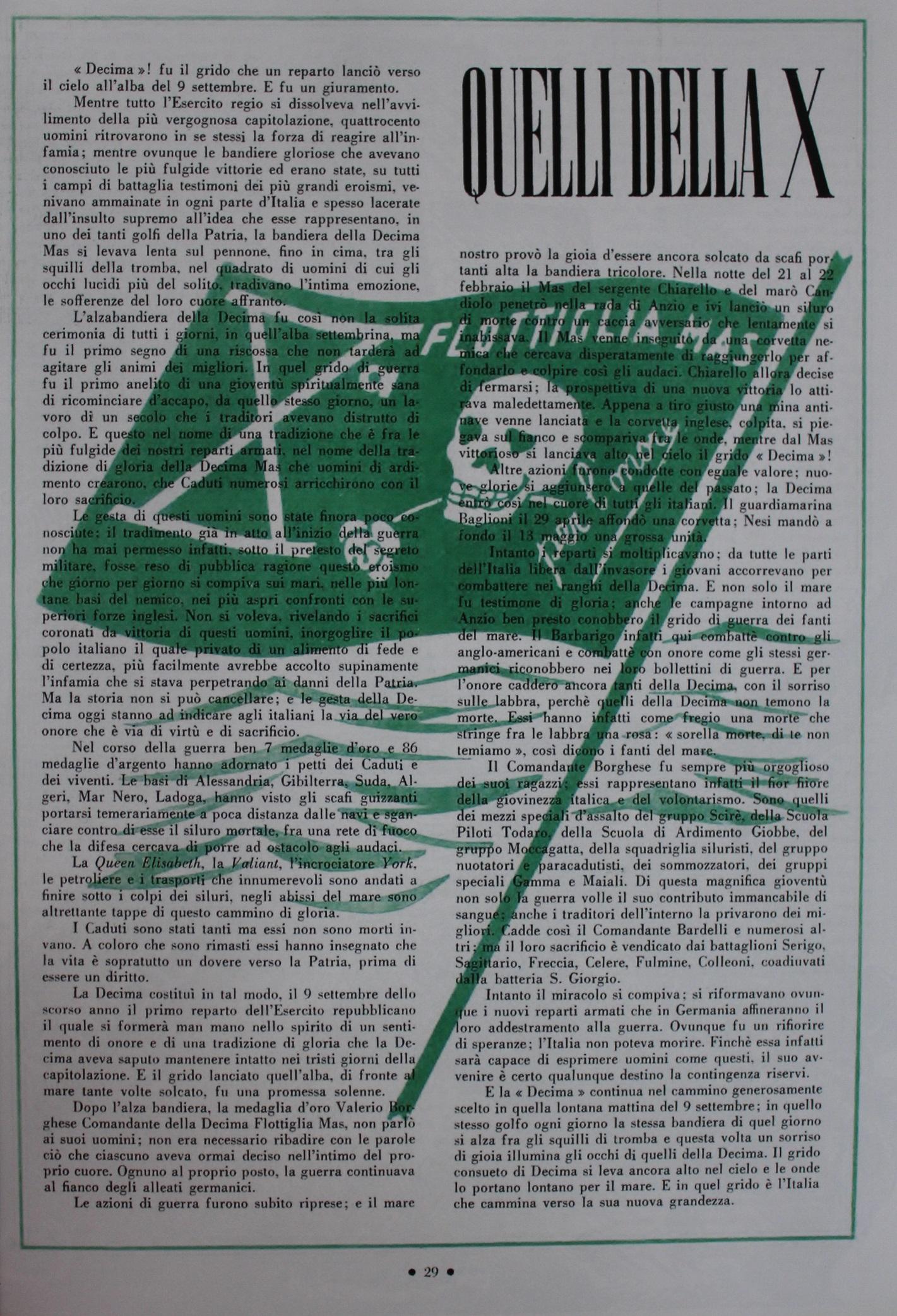 DECIMA FLOTTIGLIA M.A.S.: propaganda per la riscossa (XIX parte) – Gianluca Padovan