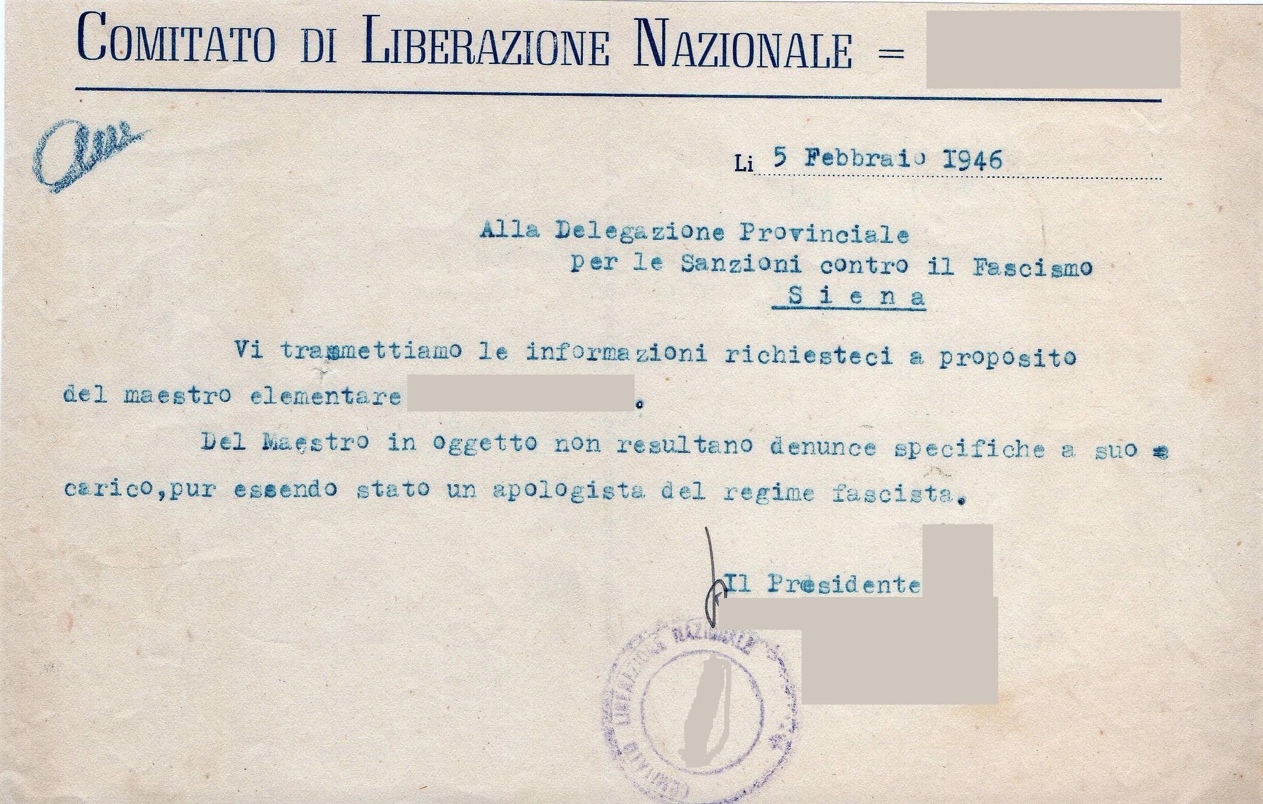 """1944 – 1946: UN PROCEDIMENTO DI """"EPURAZIONE"""" NEL SENESE NARRATO ATTRAVERSO DOCUMENTI D'ARCHIVIO"""
