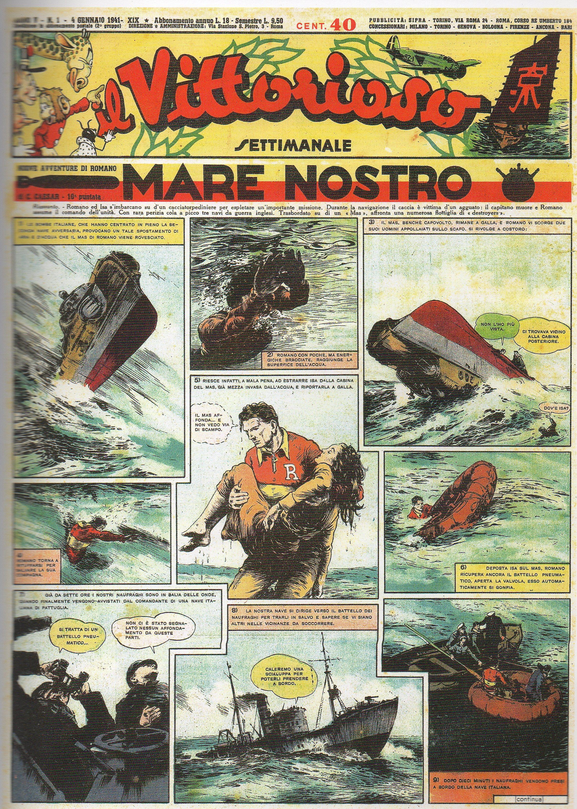 FUMETTO & FASCISMO – UN PILOTA NEL MEDITERRANEO (Le avventure di Romano, 6a parte – Mare Nostro)